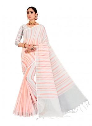 Peach Color Linen Saree
