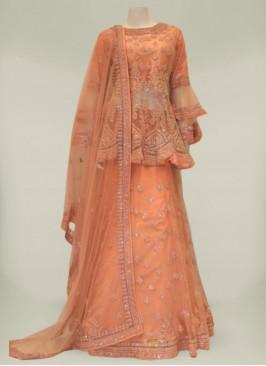 Peach Color Net Diamond Work Latest Design Sharara