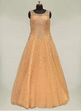 Peach Color Net Marriage Dress For Girls