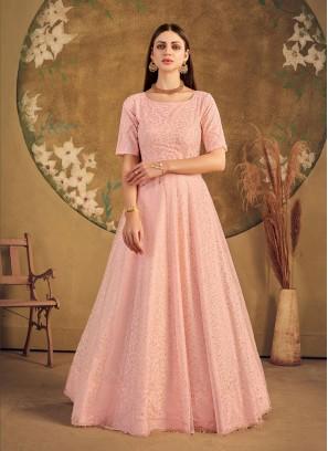 Peach Color Net Party Wear Gown