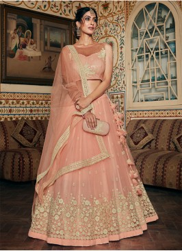 Peach Color Net Resham Work Bridal Lehenga