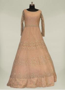 Peach Color Net Simple Bridal Dresses