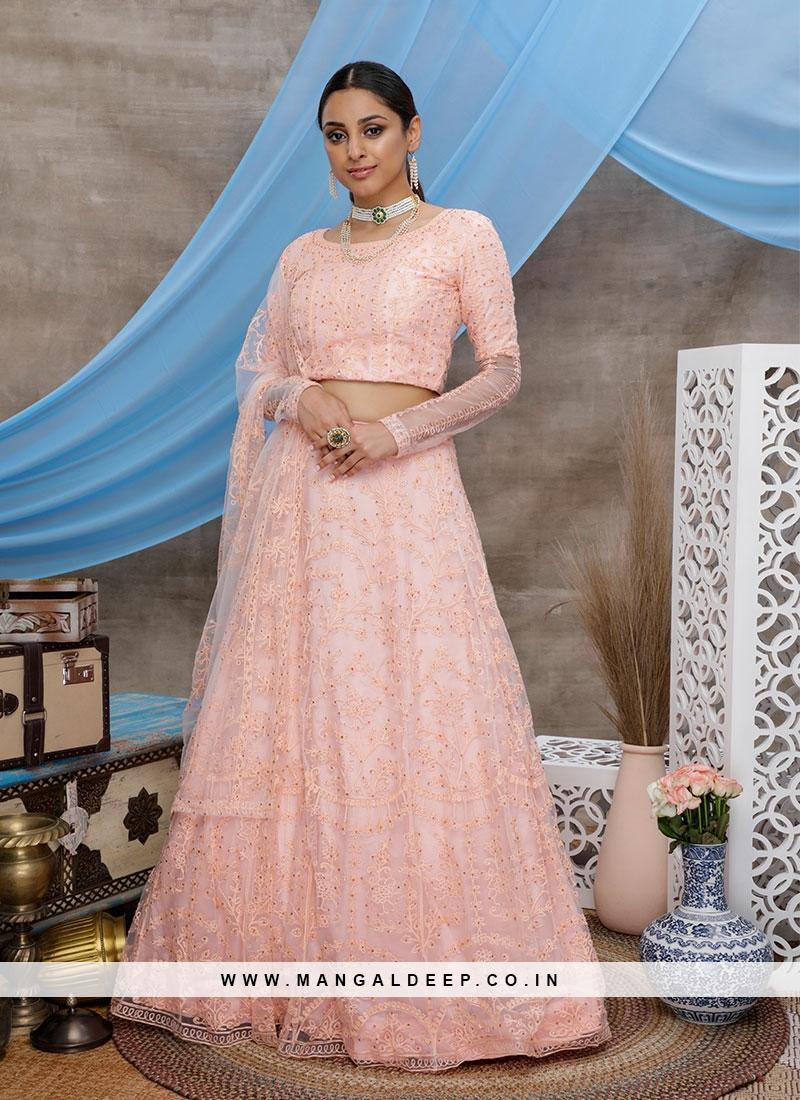 Peach Color Net Thread Work Bridal Lehenga