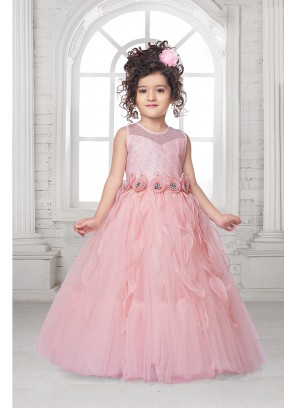 Peach Color Net Tutu Gown