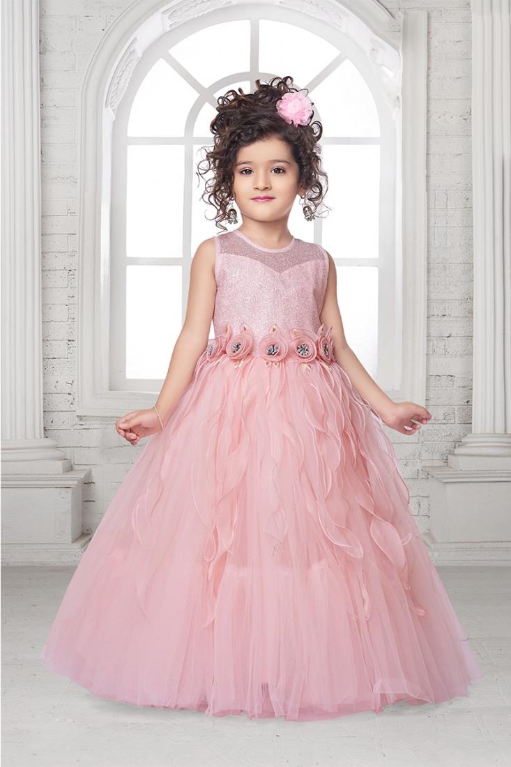 Peach Color Net Tutu Gown