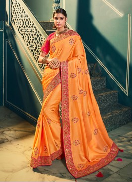 Peach Color Resham Work Chiffon Saree
