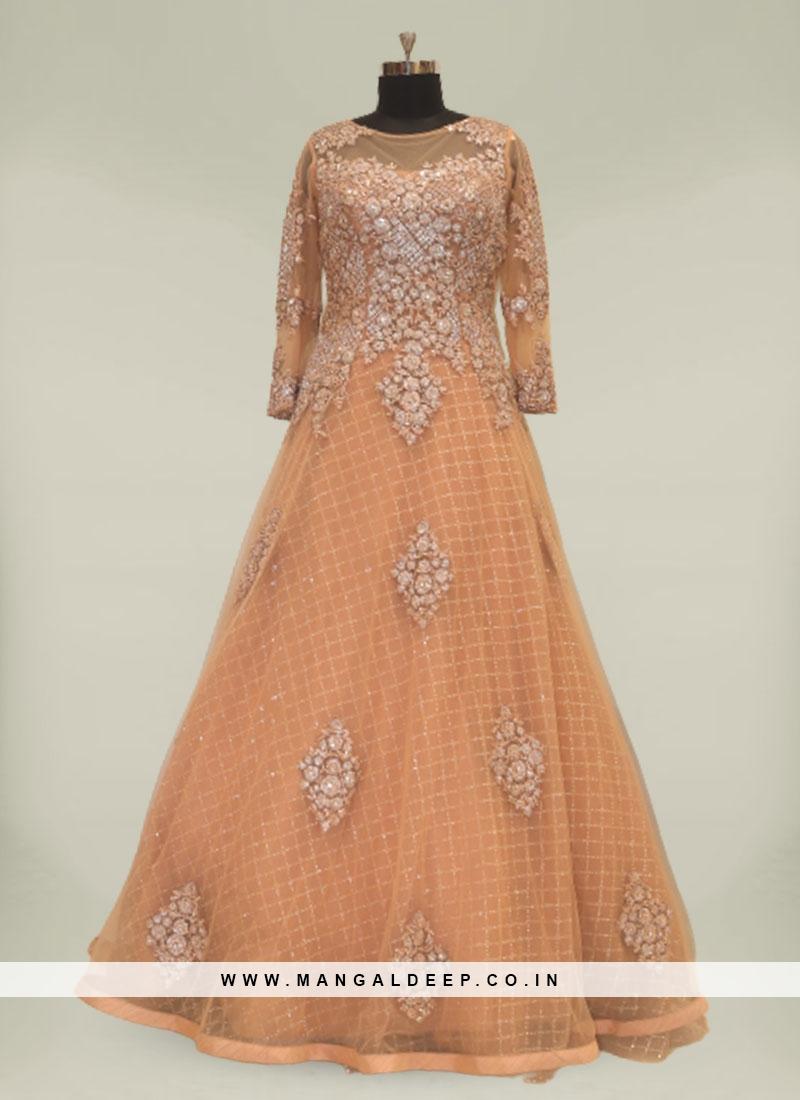 Peach Color Sequins Work Engagement Dresses For Birde