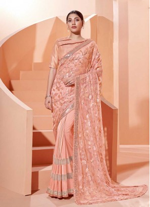 Peach Color Sequins Work Saree