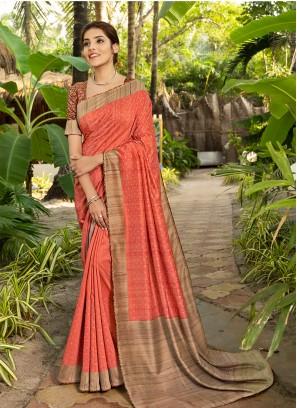 Peach Color Silk Bold Saree