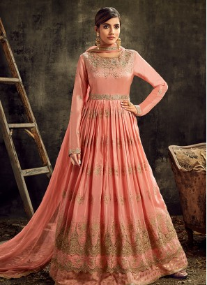 Peach Color Silk Embroidered Long Anarkali Dress