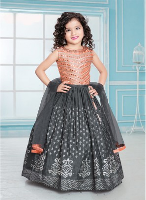 Peach Color Silk Fabric Mirror Work Girls Lehenga Choli