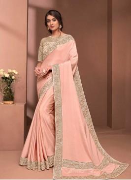 Peach Color Silk Fancy Saree