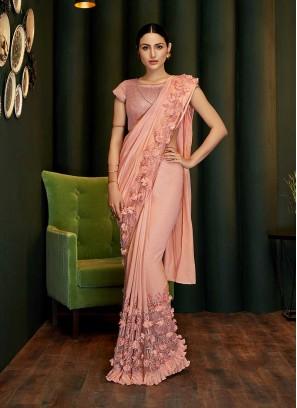 Peach Color Silk Georgette Saree
