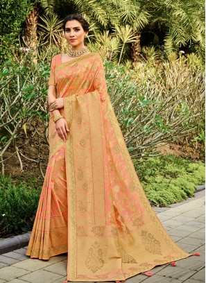 Peach Color Silk Latest Design Saree