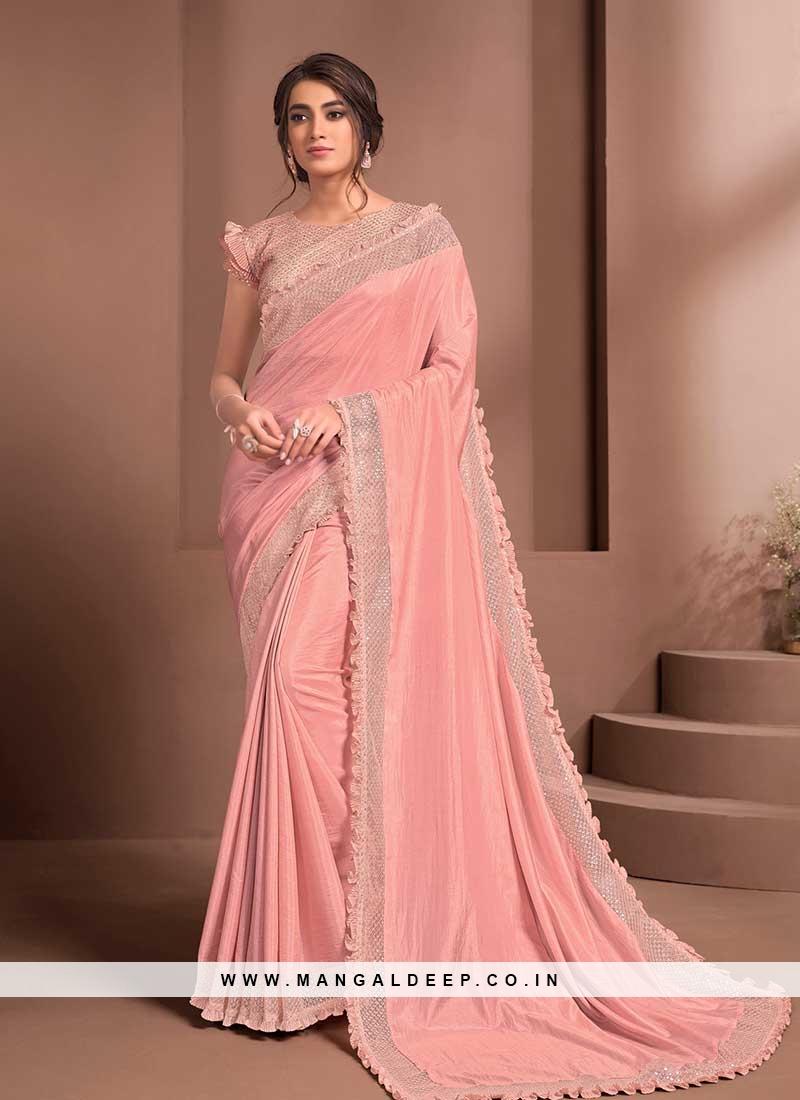Peach Color Silk Party Wear Saree
