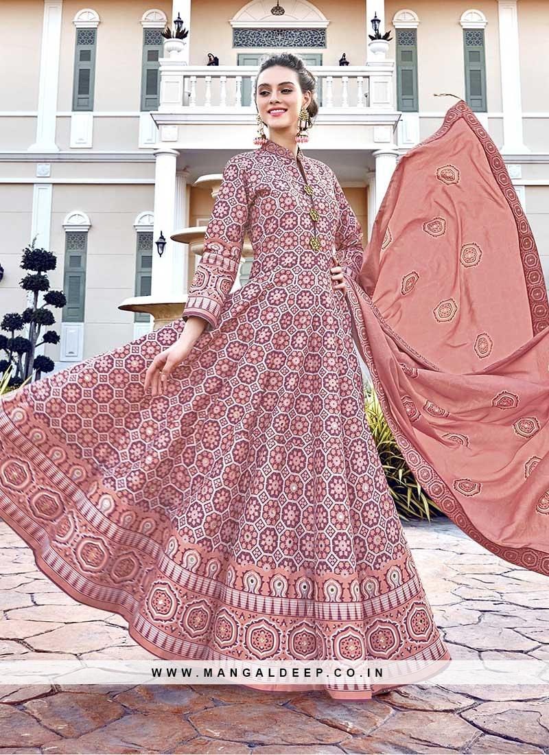 Peach Color Silk Patola Print Salwar Suit