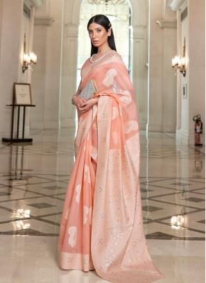 Peach Color Silk Saree For Girls