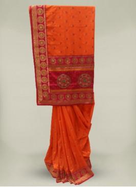 Peach Color Silk Stone Work Classic Saree