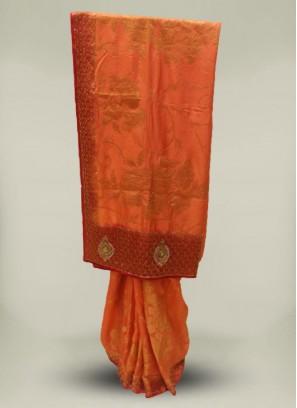 Peach Color Silk Stone Work Latest Design Saree