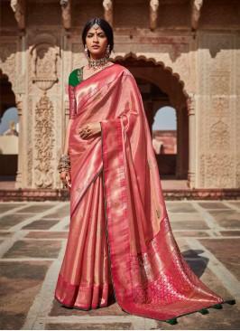 Peach Color Silk Stylish Saree