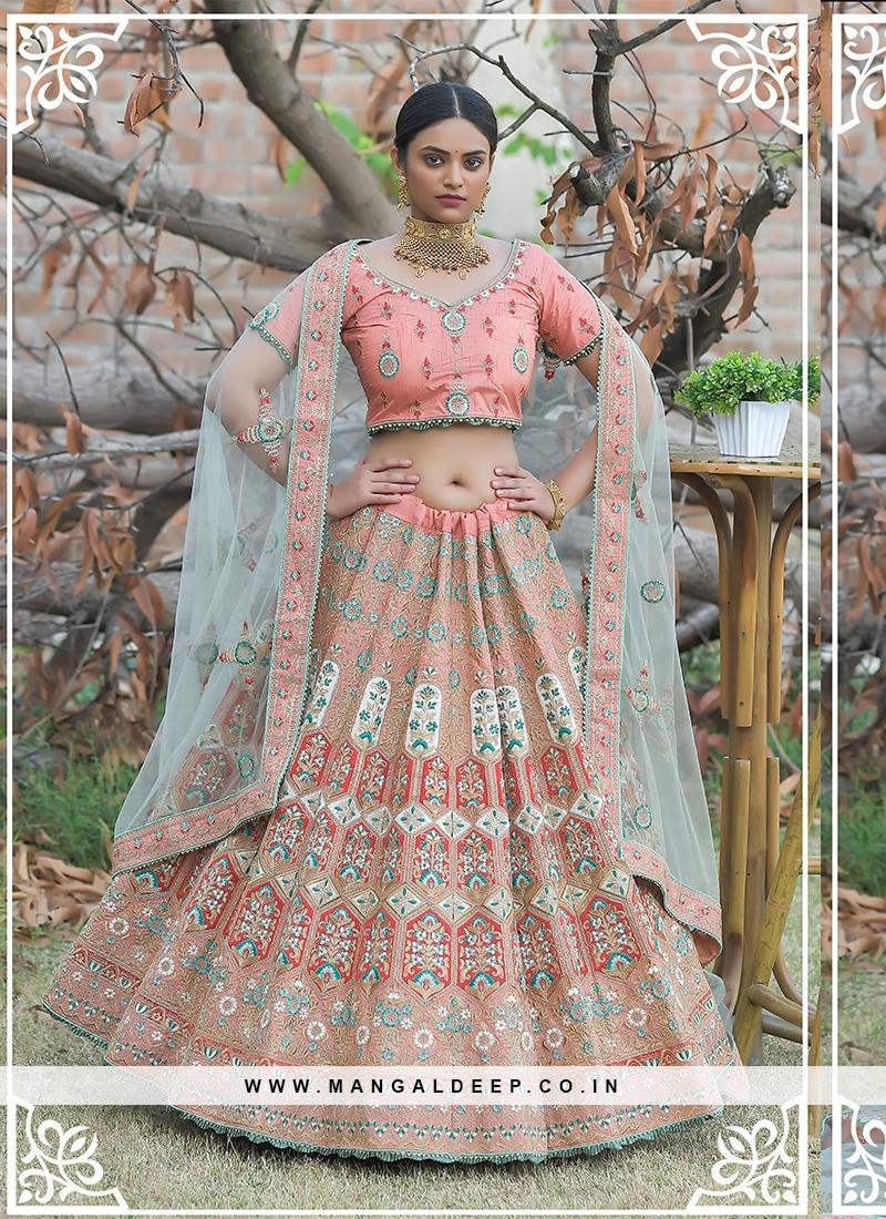 Peach Color Silk Wedding Function Wear Lehenga