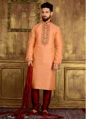 Peach Colour Embroidered Work Designer Kurta Pajama