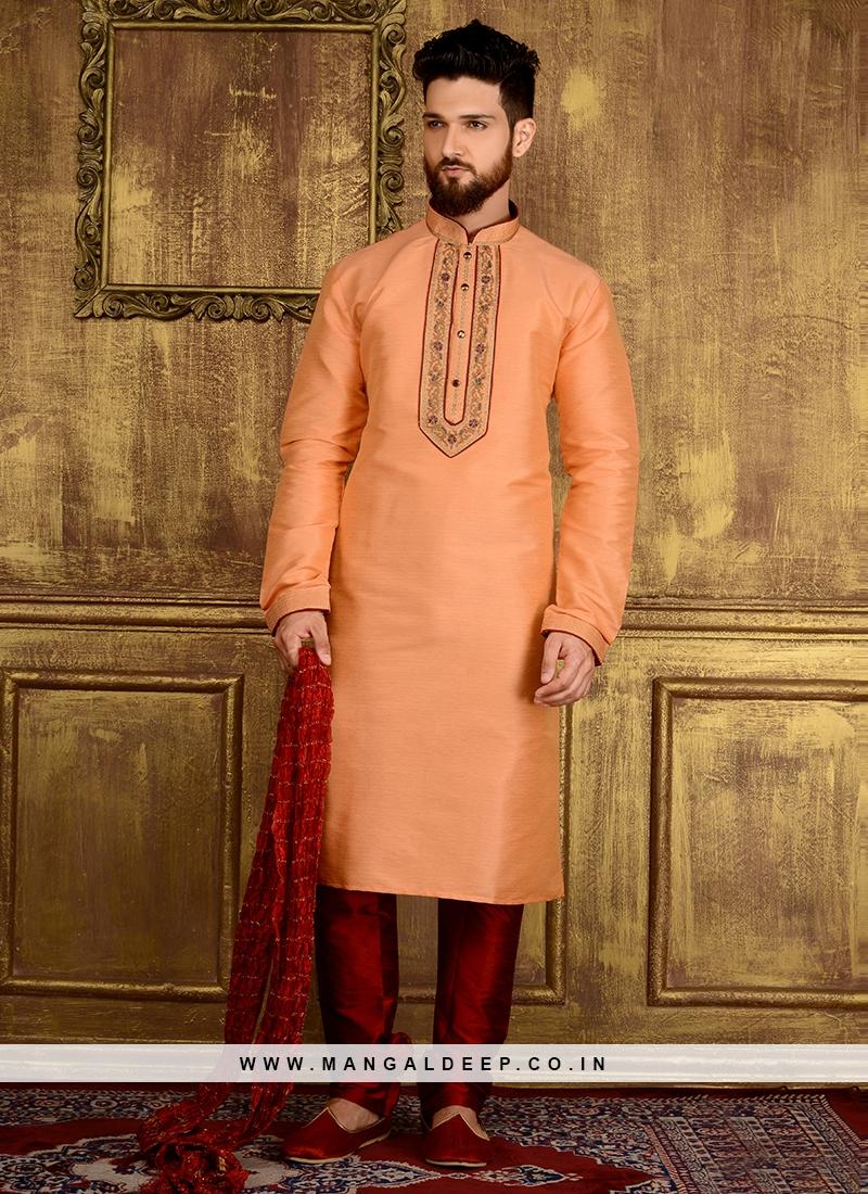 Peach Colour Embroidered Work Designer Kurta Pajama