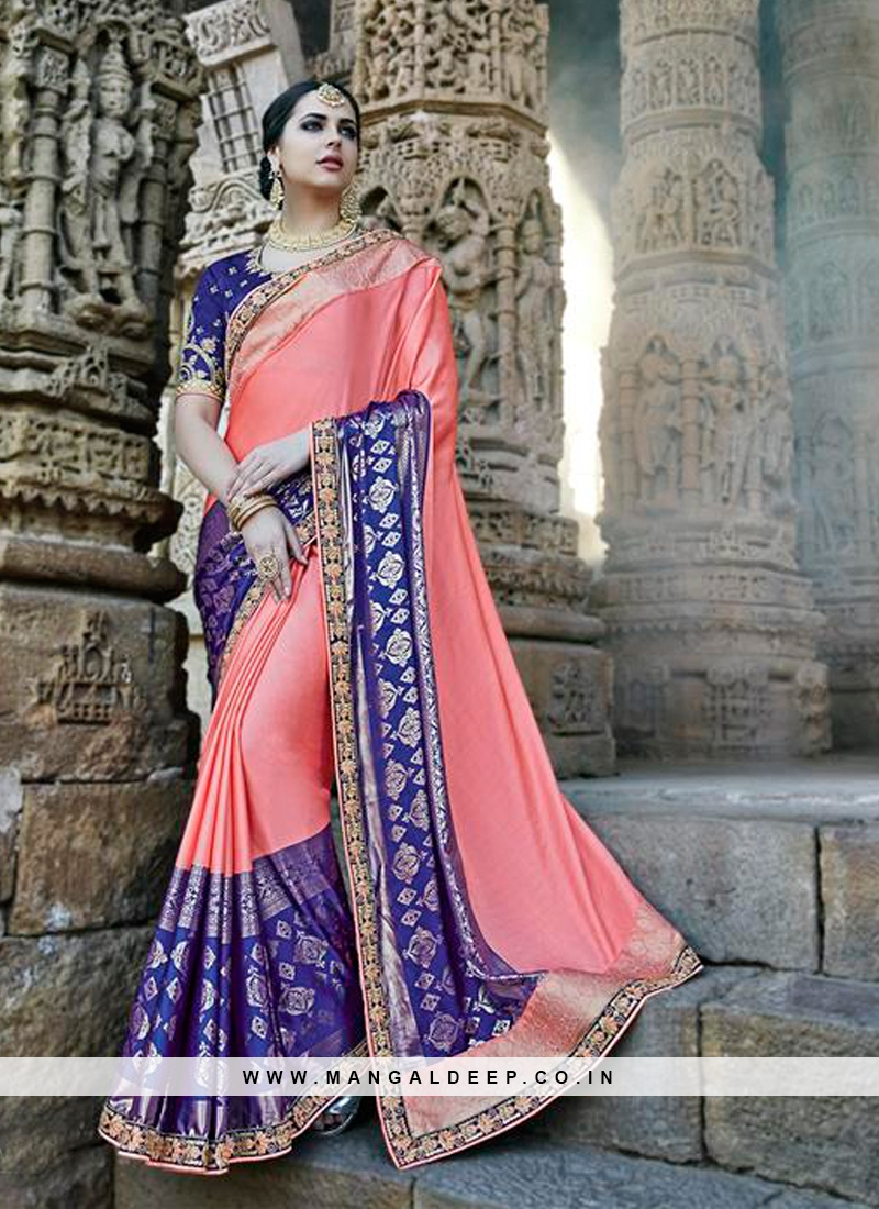 Peach Embroidered Designer Traditional Party Wear Saree