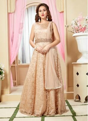 Peach Hand Work Net Designer Gown