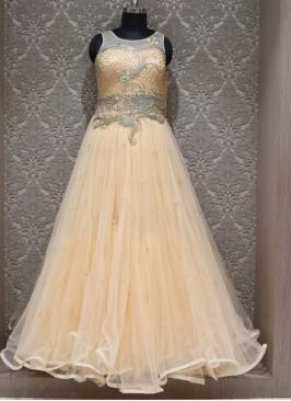 Peach Net Designer Reception Wear Gown