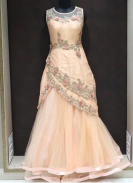 Peach Net Designer Thread Work Reception Wear Gown