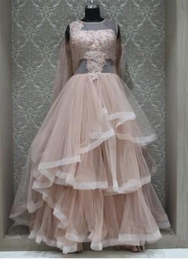 Peach Net Designer Wedding Wear Gown
