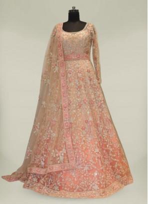 Peach Net Diamond Work Long Gown