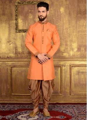 Peach Panjabi Style Indo Western Suit