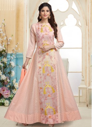 Peach Resham Work Designer Readymade Anarkali Suit