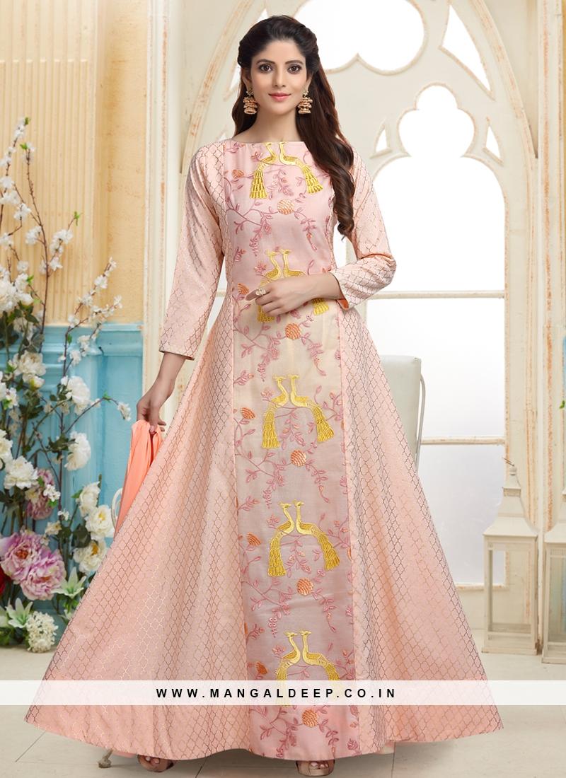 Peach Resham Work Designer Readymade Anarkali Suit