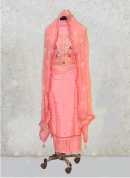 Peach Silk Gota Work Salwar Kameez