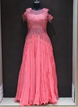 Peach Silk Resham Work Designer Reception Wear Gown