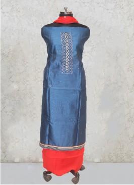 Peacock Blue Chanderi Silk Hand Work Salwar Kameez