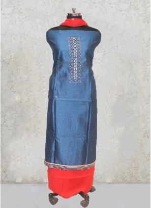 Peacock Blue Chanderi Silk Hand Work Salwar Kameez