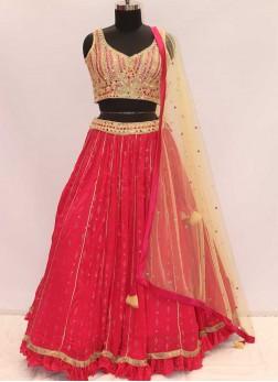Pink And Cream Color Georgette Designer Lehenga Ch