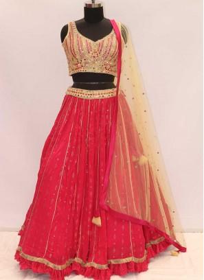Pink And Cream Color Georgette Designer Lehenga Choli