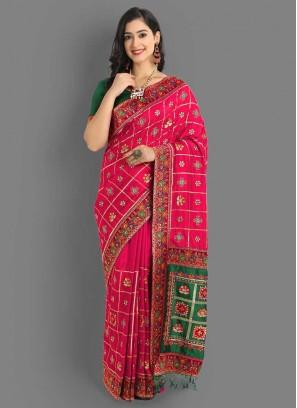 Pink And Green Color Panetar Saree For Wedding
