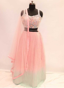Pink And Green Color Party Wear Lehenga