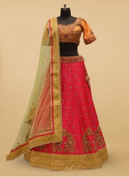 Pink And Ornage Silk Wedding Lehenga