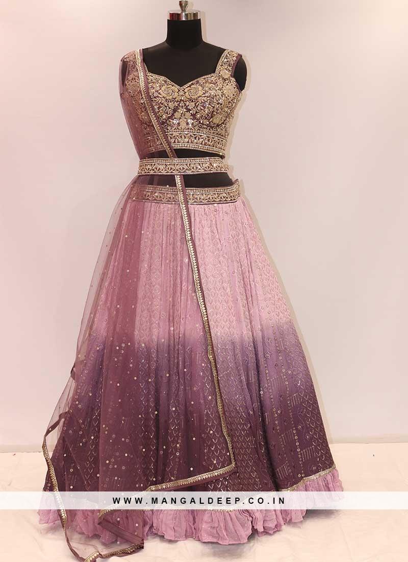 Pink And Purple Color Georgette Lehenga