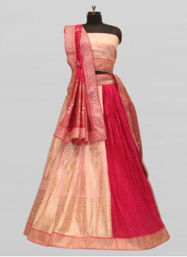 Pink And Red Color Silk Lehenga For Bride