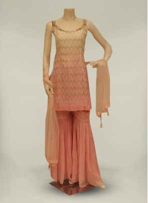Pink And White Color Georgette Gharara Dress