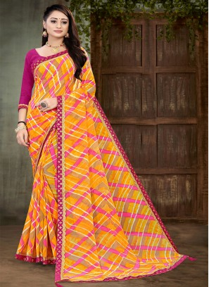 Pink And Yellow Color Georgette Saree
