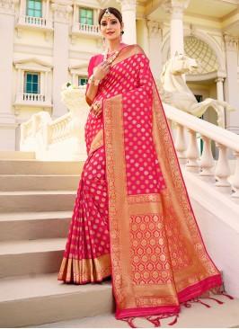 Pink Banarasi Saree In Surat